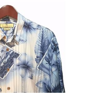 Tommy Bahama Shirts - Tommy Bahama Blue Silk Hawaiian Shirt Size L